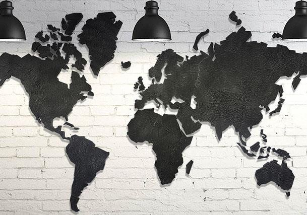 Wereldkaart donkergrijs