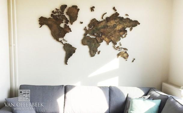goud-brons wereldkaart
