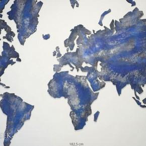 wereldkaart blauw zilver