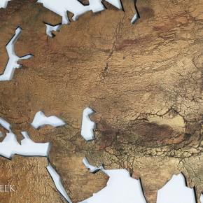wereldkaart brons