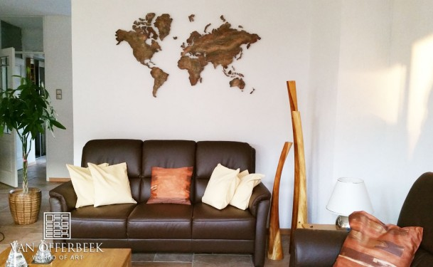 wereldkaart brons-goud