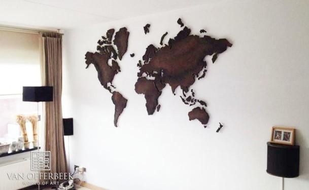 wereldkaart donker bruin