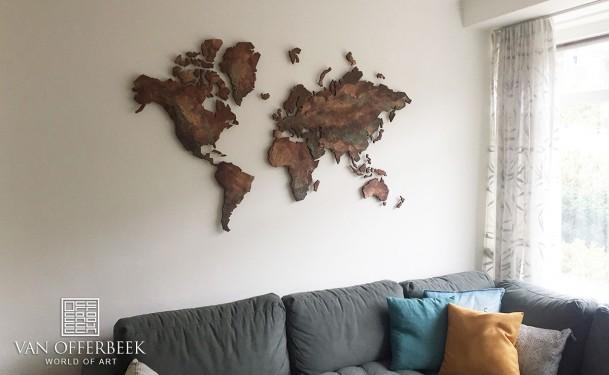 wereldkaart geschilderd