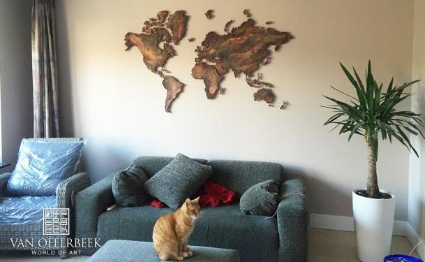 wereldkaart goud bruin