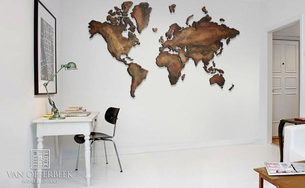 wereldkaart goud koper