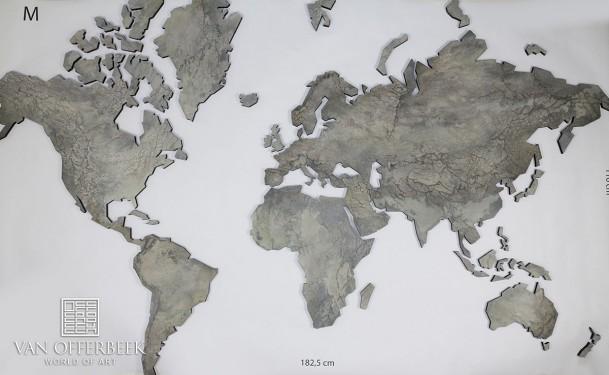 wereldkaart grijs steen