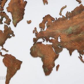 wereldkaart in koper