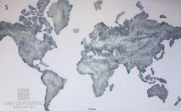 wereldkaart oud zilver