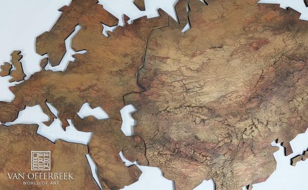wereldkaart van brons