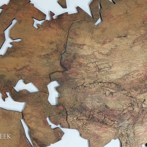 wereldkaarten bronskleur
